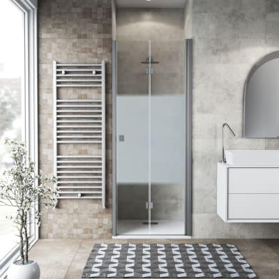 Porta doccia pieghevole Neo 71 cm, H 201.7 cm in vetro temprato, spessore 6 mm serigrafato argento