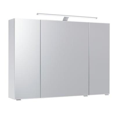 Specchio contenitore con luce Solitaire L 98 x P 17 x H 70 cm rovere laminato