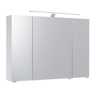 Specchio contenitore con luce Solitaire L 98 x P 17 x H 70 cm wengè laminato