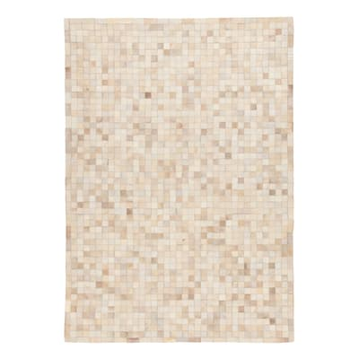 Tappeto Leather mosaic patch beige 60x120 cm