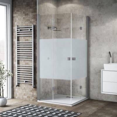 Box doccia pieghevole 120 x 80 cm, H 200 cm in vetro, spessore 6 mm serigrafato grigio