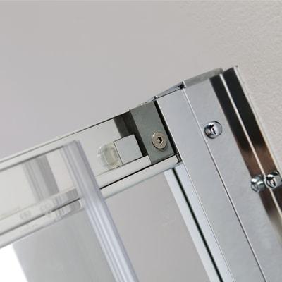 Box doccia semicircolare scorrevole 70 x 70 cm, H 195 cm in vetro temprato, spessore 6 mm trasparente argento