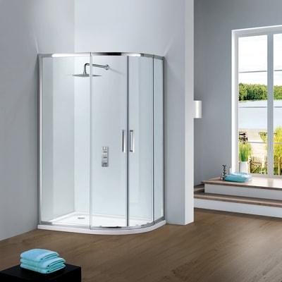 Box doccia semicircolare scorrevole Slimline 80 x 120 cm, H 195 cm in vetro temprato, spessore 6 mm trasparente argento