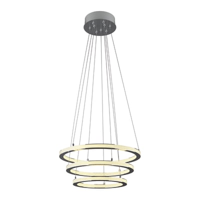 Lampadario Shokia bianco, cromo, in metallo, diam. 60 cm, LED integrato 88W 6600LM IP20 INSPIRE