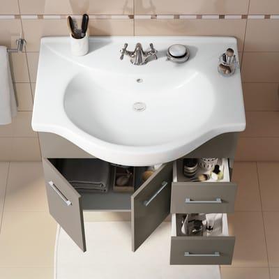 Mobile bagno Ginevra tortora scura L 81 cm