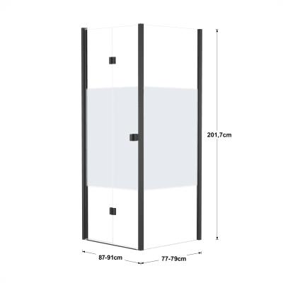 Box doccia pieghevole 90 x 80 cm, H 201.7 cm in vetro, spessore 6 mm serigrafato nero