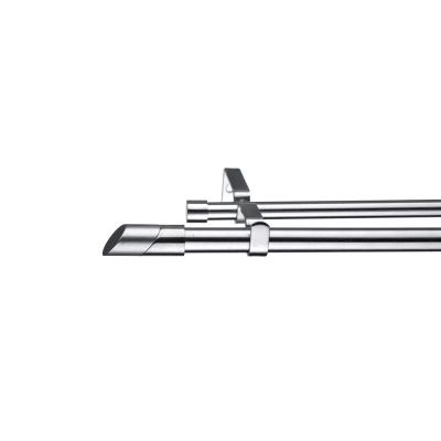 Kit bastone per tenda estensibile Doppio in metallo Ø 16/19 mm grigio e argento spazzolato da 120 a 210 cm  INSPIRE