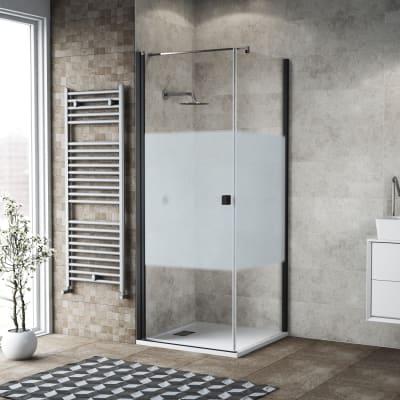 Box doccia battente 100 x 80 cm, H 200 cm in vetro, spessore 6 mm serigrafato nero