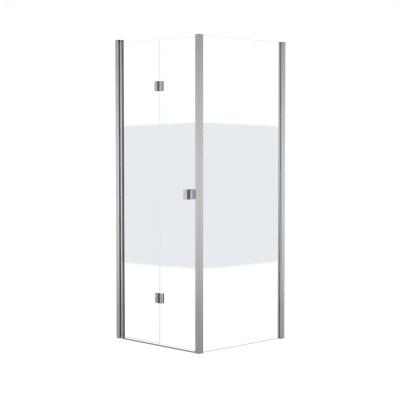 Box doccia pieghevole 100 x 80 cm, H 201.7 cm in vetro, spessore 6 mm serigrafato bianco