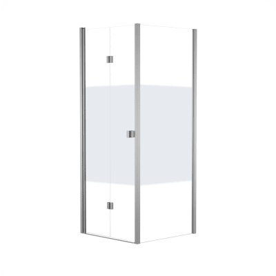 Box doccia pieghevole 80 x 80 cm, H 201.7 cm in vetro, spessore 6 mm serigrafato bianco