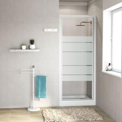 Porta doccia battente Nerea 90 cm, H 185 cm in vetro temprato, spessore 4 mm serigrafato bianco
