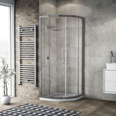 Box doccia semicircolare scorrevole 100 x 100 cm, H 195 cm in vetro, spessore 6 mm trasparente argento
