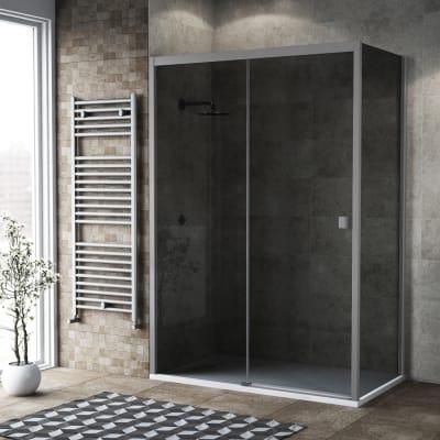Box doccia scorrevole 135 x 80 cm, H 200 cm in vetro, spessore 6 mm fumé argento