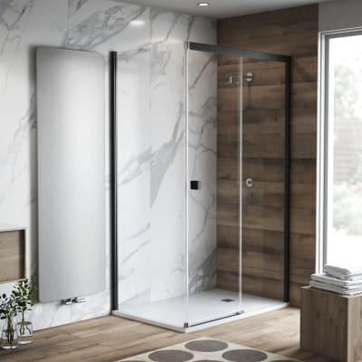 Porta doccia 135 x 80 cm, H 200 cm in vetro temprato, spessore 6 mm trasparente nero