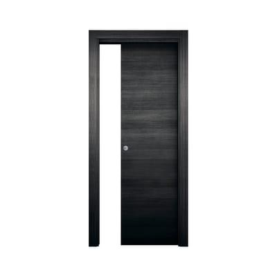 Porta scorrevole a scomparsa Timber fumo L 80 x H 210 cm reversibile