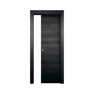 Porta scorrevole a scomparsa Timber fumo L 70 x H 210 cm reversibile