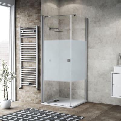 Box doccia battente 100 x 80 cm, H 200 cm in vetro, spessore 6 mm serigrafato bianco