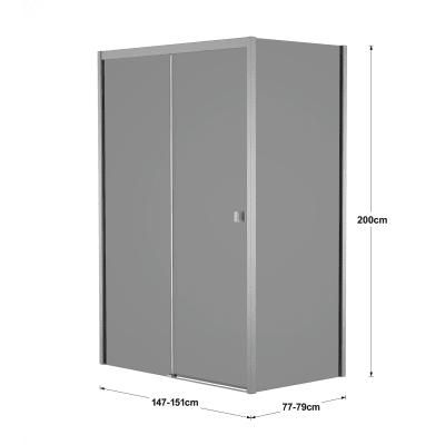 Box doccia scorrevole 150 x 80 cm, H 200 cm in vetro, spessore 6 mm fumé argento