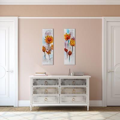 Quadro dipinto a mano Fiori Gialli2 90x30 cm