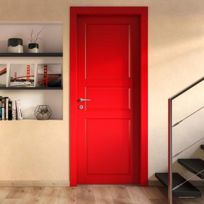 Porta scorrevole a scomparsa New York rosso L 90 x H 210 cm reversibile