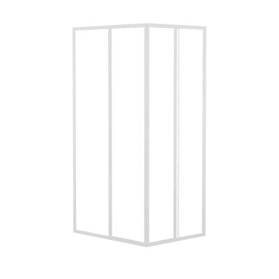 Box doccia quadrato 80 x 90 cm, H 184 cm in acrilico, spessore 1.5 mm brinato / trasparente bianco