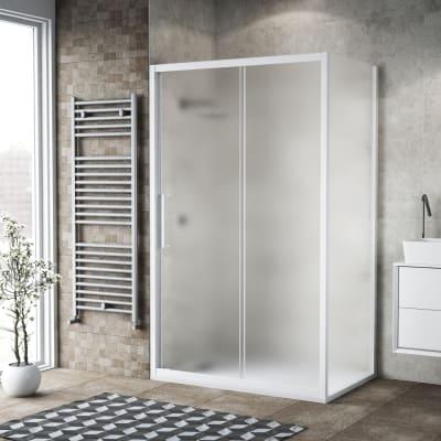 Box doccia rettangolare scorrevole 100 x 80 cm, H 195 cm in vetro, spessore 6 mm spazzolato bianco