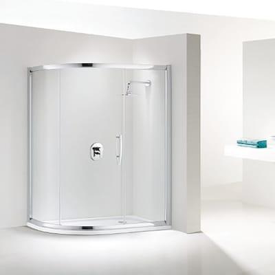 Box doccia semicircolare scorrevole Namara 90 x 120 cm, H 195 cm in vetro temprato, spessore 8 mm trasparente argento