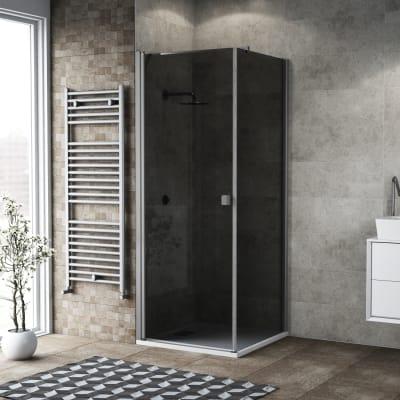 Box doccia battente 100 x 80 cm, H 200 cm in vetro, spessore 6 mm fumé argento