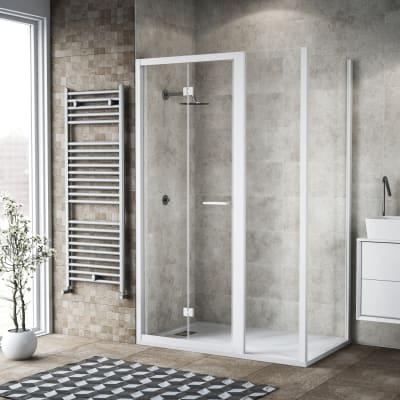 Box doccia pieghevole 125 x 80 cm, H 195 cm in vetro, spessore 6 mm trasparente bianco