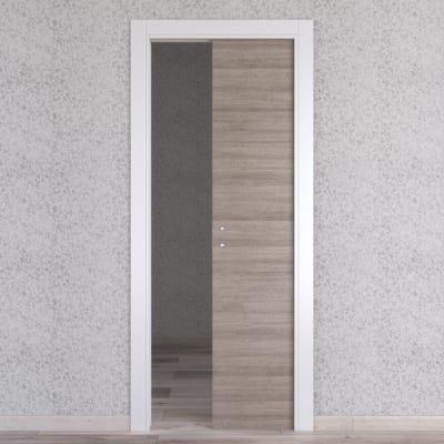Porta scorrevole a scomparsa One Ash cenere/bianco L 60 x H 210 cm reversibile