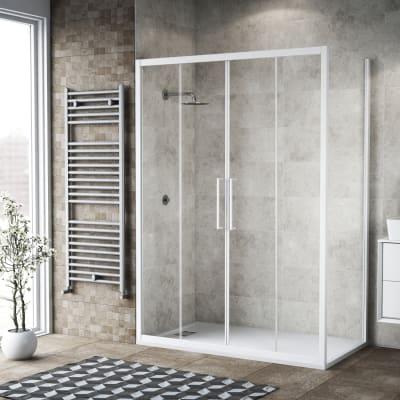 Box doccia scorrevole 175 x 80 cm, H 195 cm in vetro, spessore 6 mm trasparente bianco
