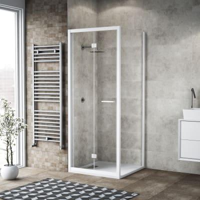 Box doccia pieghevole 85 x 80 cm, H 195 cm in vetro, spessore 6 mm trasparente bianco