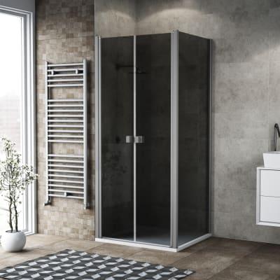 Porta doccia 120 x 80 cm, H 200 cm in vetro, spessore 6 mm fumé argento