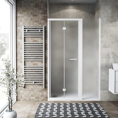 Box doccia pieghevole 130 x 70 cm, H 195 cm in vetro, spessore 6 mm spazzolato bianco