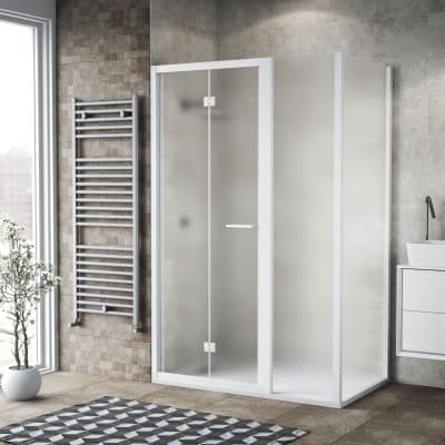 Box doccia pieghevole 115 x , H 195 cm in vetro, spessore 6 mm spazzolato bianco