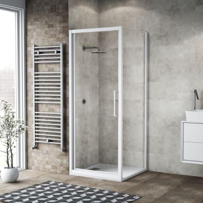 Box doccia battente 90 x 80 cm, H 195 cm in vetro, spessore 6 mm trasparente bianco