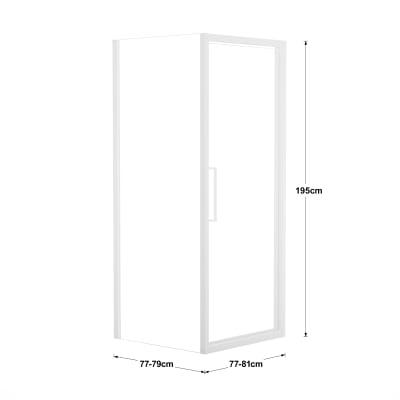 Box doccia battente 80 x 80 cm, H 195 cm in vetro, spessore 6 mm trasparente bianco
