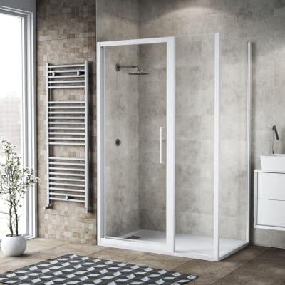 Box doccia battente 135 x 80 cm, H 195 cm in vetro, spessore 6 mm trasparente bianco