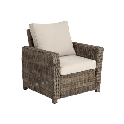 Sedia con braccioli con cuscino  in alluminio NATERIAL colore naturale