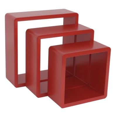 Set di 3 pezzi, Mensola a cubo L 24.0 x H 28.0 cm, Sp 15.0 mm rosso