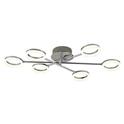 Plafoniera Iring grigio, in metallo, 76.0x12.5 cm, diam. 76.0 , 6 luci , IP20 INSPIRE