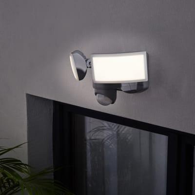 Proiettore LED integrato con sensore di movimento in alluminio, argento, 20W IP44 INSPIRE