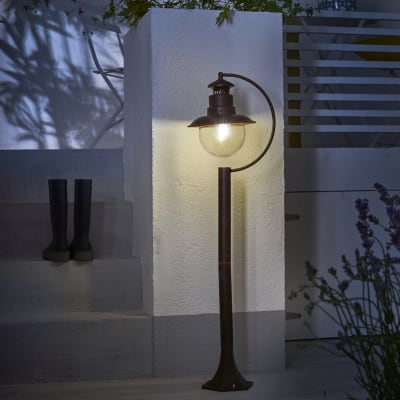 Palo della luce H108cm in acciaio, moro anticato, E27 IP44 INSPIRE