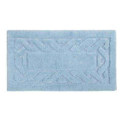 Tappeto bagno rettangolare Dalì in 100% cotone azzurro 110 x 55 cm