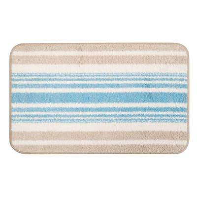Tappeto bagno in cotone azzurro 80 x 55 cm