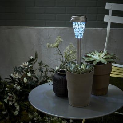 Lampioncino solare Solna LED integrato H36cm blu 0.06W 10LM IP33 INSPIRE