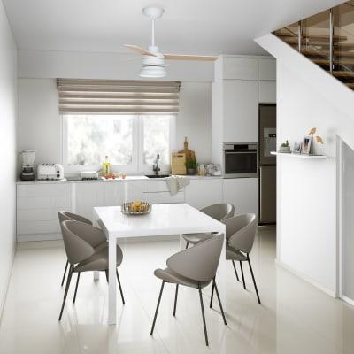 Ventilatore da soffitto LED integrato Notos, ciliegio/faggio, D. 106 cm, con telecomando