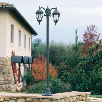 Lampione Olive H222cm in alluminio, grigio, E27 2xMAX60W IP43