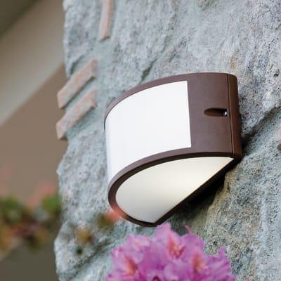 Applique Umbe ruggine in alluminio, marrone e bianco, E27 MAX60W IP54