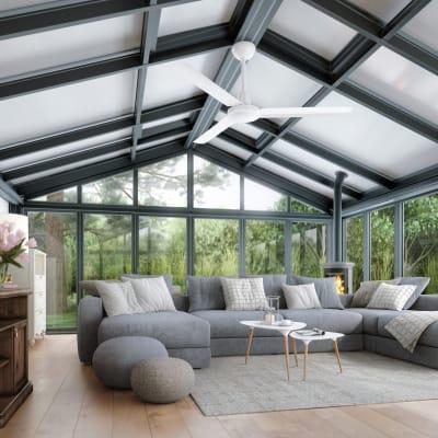 Ventilatore da soffitto Garbin, bianco, D. 142 cm, con telecomando